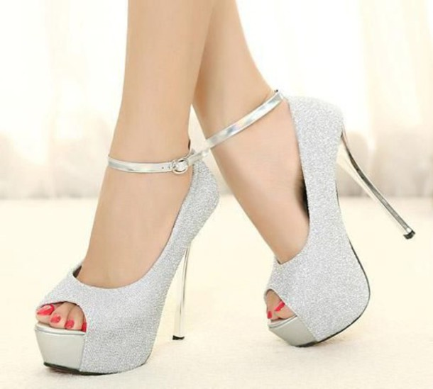 Shoes: heels, silver, silver heels, ankle strap heels - Wheretoget