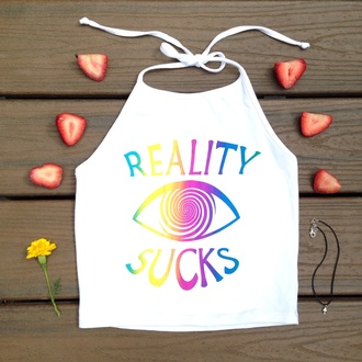 top 90's shirt 90s style grunge top crop tops graphic crop tops summer top ootd cute top rainbow halter top grunge crop top crop