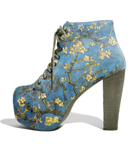heels platform lace up boots cherry blossom