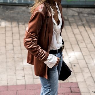 ms treinta blogger jacket shirt pants shoes bag blazer fall outfits white shirt