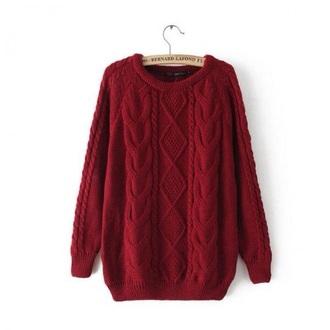 sweater burgundy bernard lafond knitted sweater