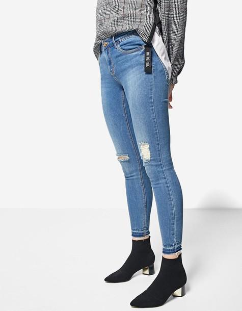 jeans skinny jeans denim basic pale