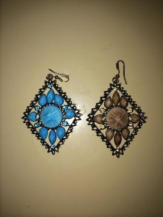 jewels earrings triangle shape hook earrings sky blue elegant earrings