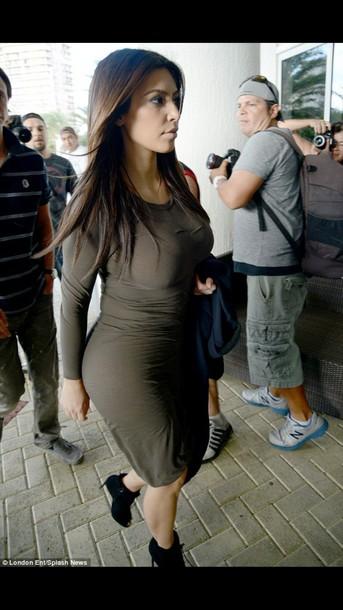 dress olive dress bodycon kim kardashian
