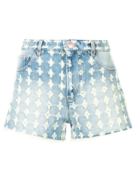 Isabel Marant etoile shorts denim shorts denim embroidered women floral cotton blue
