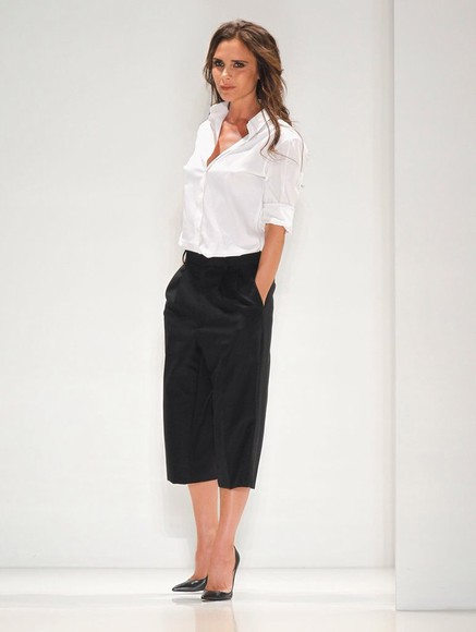 victoria beckham pants smart shirt black trousers fashionista