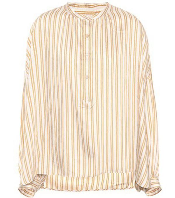 Isabel Marant Ilda striped silk-blend blouse in gold