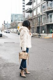 jacket,tumblr,white fur jacket,fur jacket,faux fur jacket,white jacket,bag,nude bag,denim,jeans,blue jeans,cropped jeans,boots,brown boots,suede,suede boots,high heels boots