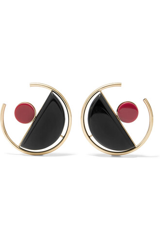earrings gold black burgundy jewels