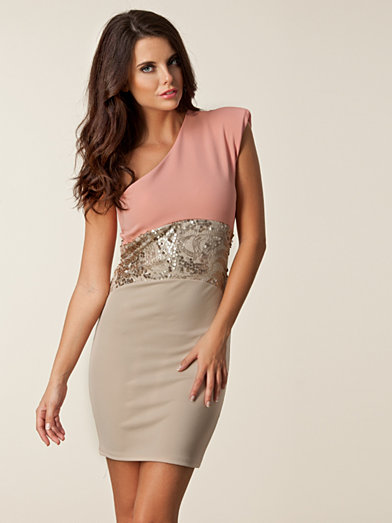 Sequin Waist One Dress - Dark Pink - Light Pink - Party Dresses - Clothing - Women - Nelly.com