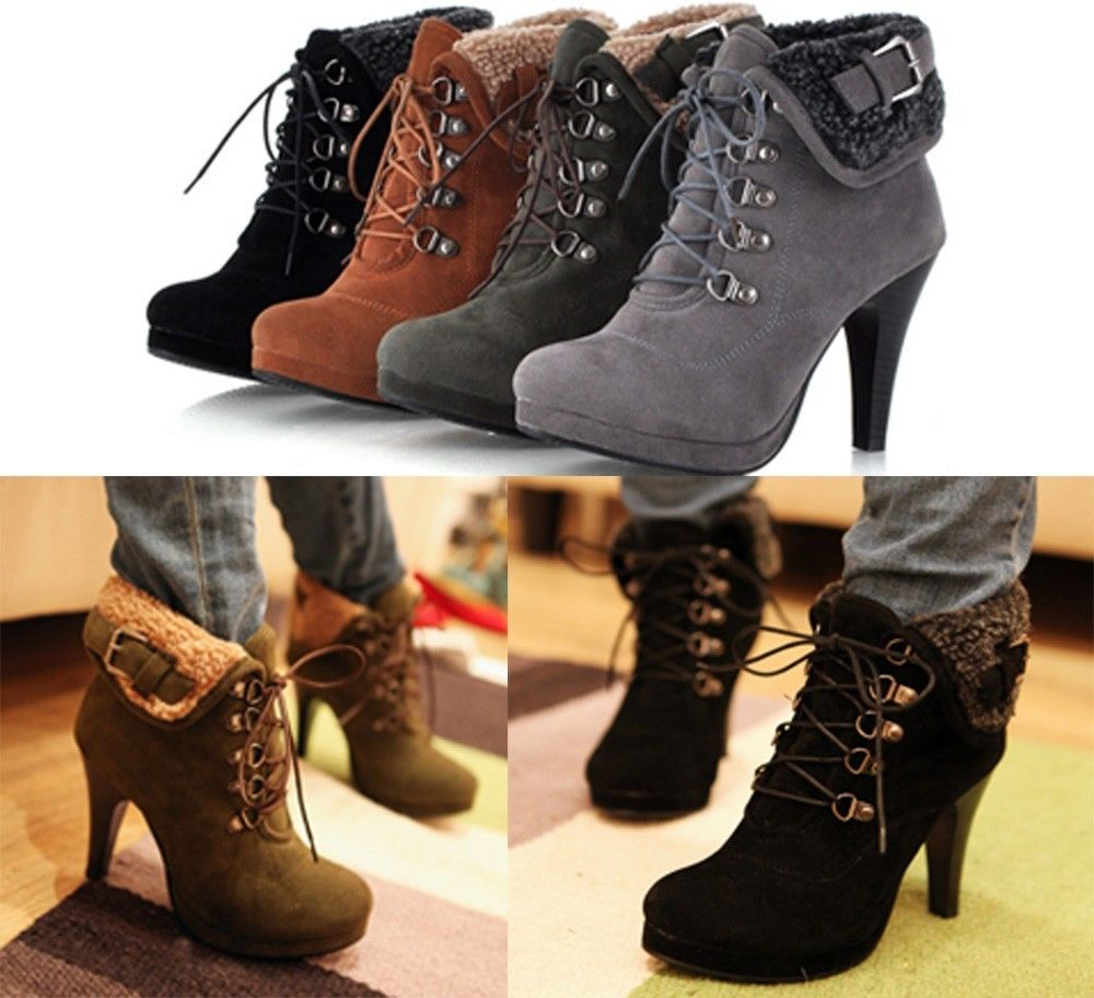 Women's fur lining ankle boots lace up stilettos high heels platform dress boots