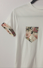 blouse,floral,oversized t-shirt,cute,pockets,casual,white,pretty,shirt,t-shirt,menswear,flowers,vintage,guys,urban,whte shirt,floral t shirt,cute shirts,pocket t-shirt,roses,floral pocket,floral sleeves,style,fashion,bloom,white t-shirt,white top,love,hipster,hipster wishlist
