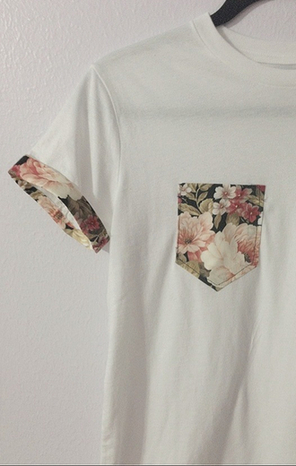 blouse floral oversized t-shirt cute pocket casual white shirt t-shirt menswear vintage guys urban pockettshirt floral t shirt pocket tee