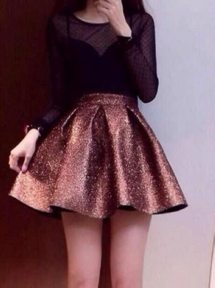 skirt gold girly golden gold sequins tumblr cute