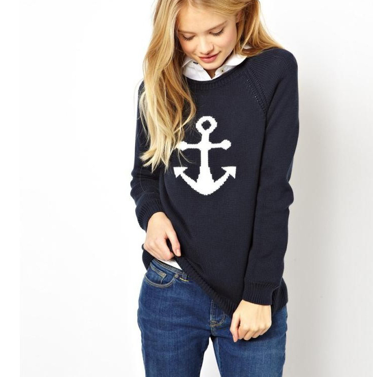 Sail away with me navy anchor print sweater · fashion struck · online store powered by storenvy