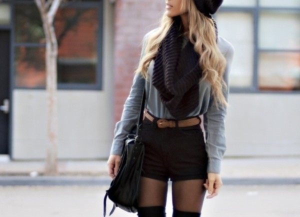 black shorts infinity scarf belt black beanie grey sweater High waisted shorts knee high boots black bag fall outfits grey top long sleeves top shorts blouse black dress black outfit beanie