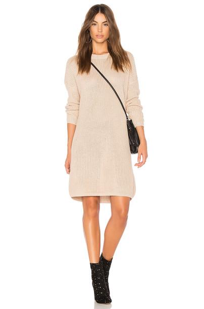 Minkpink dress cross lace knit beige