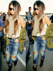 jeans,jacket,shirt,selena gomez,shoes,blouse,scarf