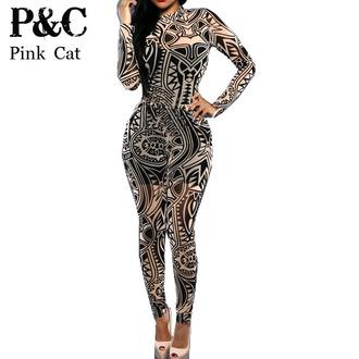 jumpsuit women tribal tattoo jumpsuit printing jumpsuit women sexy bodysuit celebrity catsuit playsuit women jumpsuit