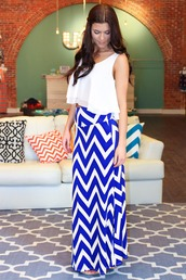 skirt,royal blue,chevron,white,maxi skirt,maxi,summer,spring,blouse