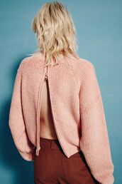 sweater,peach,coral,spring,slit,zip,pastel sweater,pastel,chloe,see by chloe