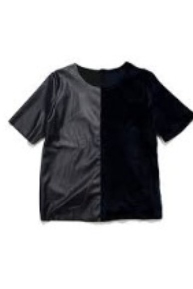 black shirt leather t-shirt t-shirt fake leather faux leather half and half