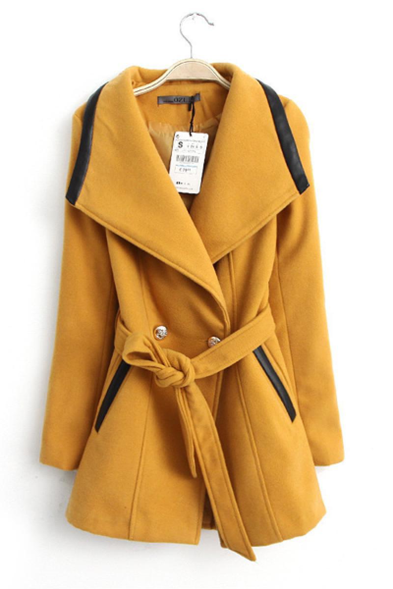 Large Collar PU Splicing Woolen Overcoat,Cheap in Wendybox.com