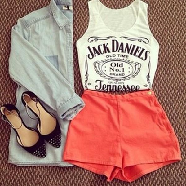 t-shirt jack daniel's tank top blouse shorts shoes jacket shirt