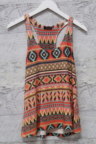 tank top aztec warm colors amazinglace summer summer time shirt top tank sun colors racerback tanktop
