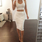 Scoop two piece midi bandage dress white