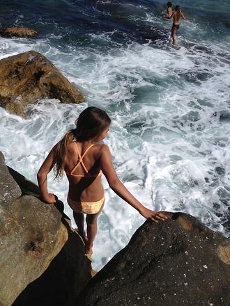 cross back swimwear bikini summer outfits orange swimwear