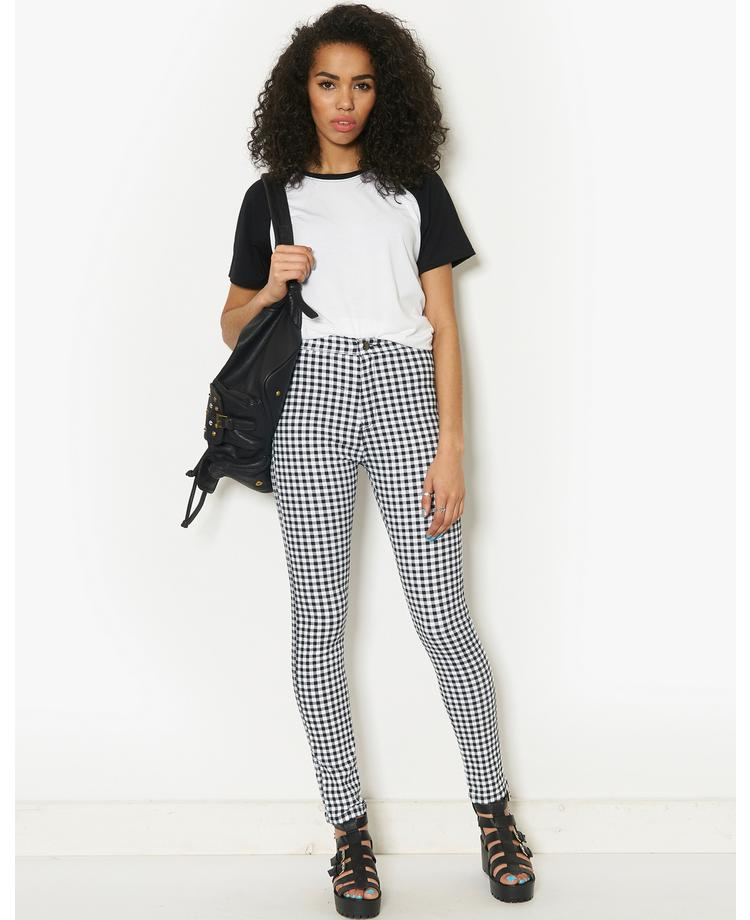 BLONDE & BLONDE Gingham Print Skinny Jeans | BANK Fashion