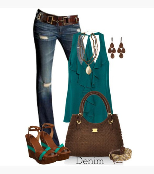 purse clothes racerback tank top shoes bag top ruffles ruffled racerback tanktop necklace earrings jeans belt wedges bracelet outfit peep toe