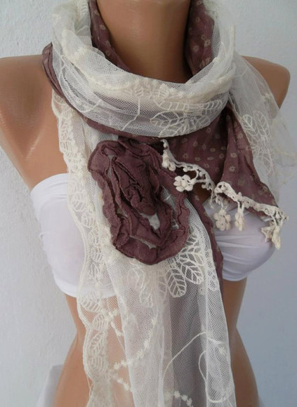 tulle scarf shawl neck warmer roses cotton handmade shabby chic