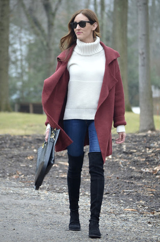 classroom couture blogger coat sweater jeans shoes bag turtleneck sweater over the knee boots winter outfits handbag