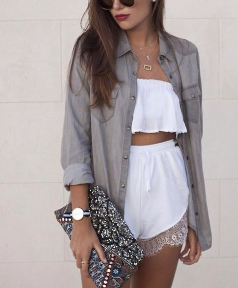 white cute lace shorts jumpsuit where can i get this outfitt