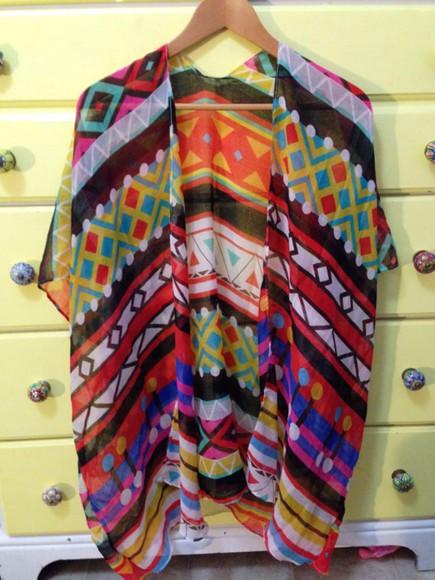 kimono cardigan tribal pattern