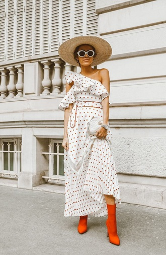 dress polka dots dress boots red boots straw hat polka dots asymmetrical asymmetrical dress hat