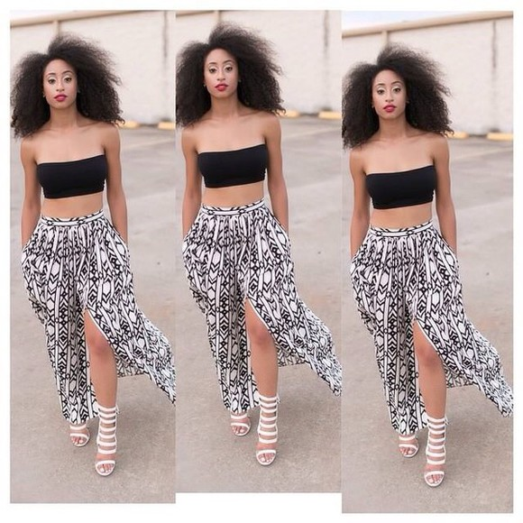 bandeau clothes skirt black top white bralette shoes crop tops