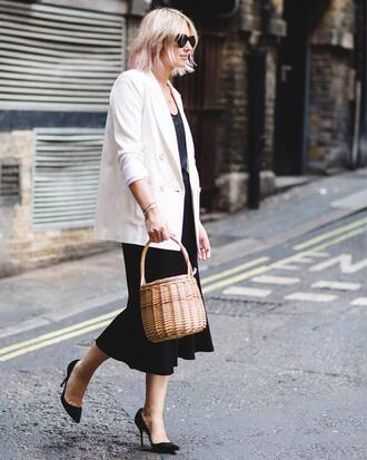 jacket tumblr blazer white blazer office outfits work outfits bag basket bag skirt midi skirt pumps pointed toe pumps top shoes