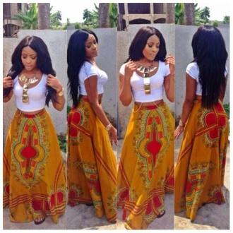 skirt orange skirt tribal prints long maxi skirt