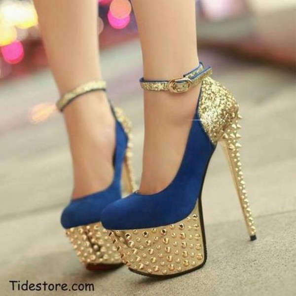 shoes gold heel blue shoes gold ankle strap high stilettos gold studs high heels blue high heels glitter heels blue and gold sequins colorful size stylish plus gold heels blue heels spikes cardigan