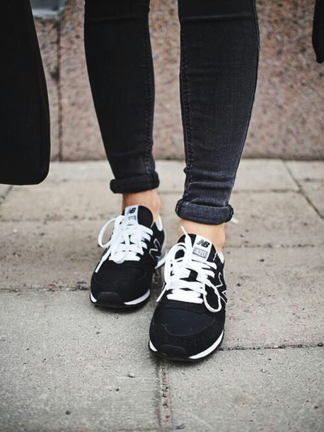 shoes sneakers black and white new balance
