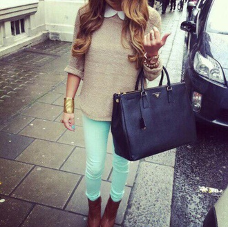 pants mint mint green jeans jeans shirt jumper boots sweater
