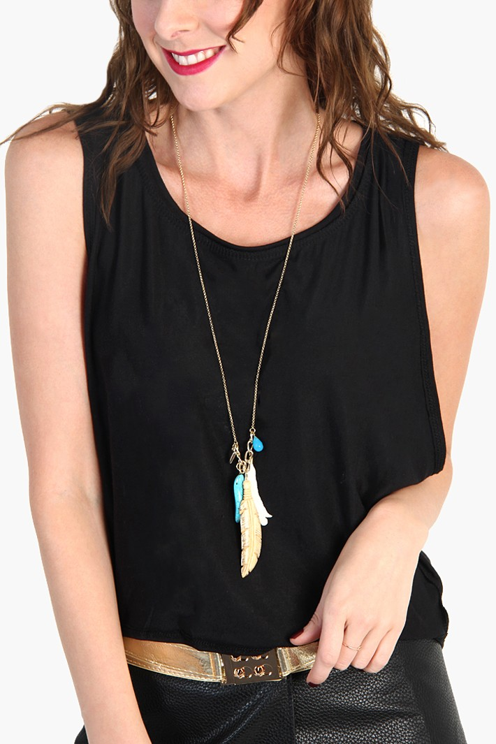 Indian Feather Long necklace - Gold