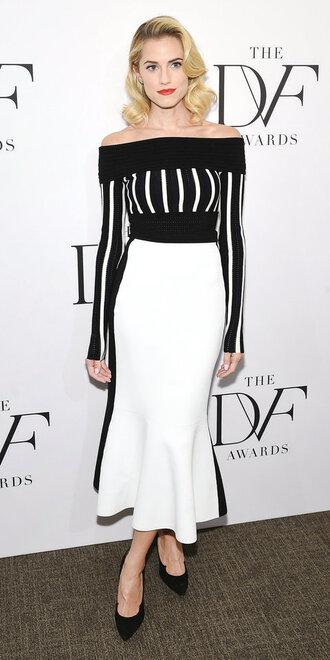 skirt allison williams top black and white midi skirt off the shoulder off the shoulder top stripes