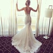 dress,wedding dress,white,white dress,long dress,strapless,mermaid wedding dress,mermaid,mermaid dresses,white wedding dress lace with sleeves  and backless