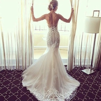 dress wedding dress white white dress long dress strapless mermaid wedding dress mermaid mermaid dresses white wedding dress lace with sleeves  and backless