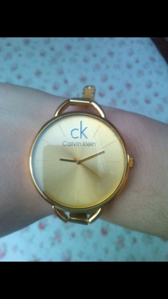 clock calvin klein gold watch