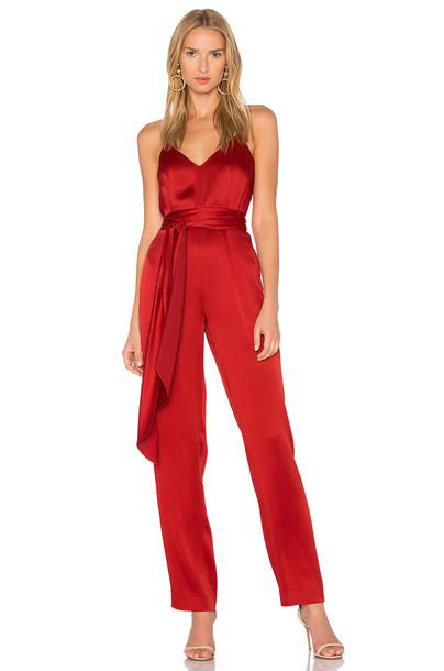 Diane von Furstenberg Deep V Jumpsuit in red